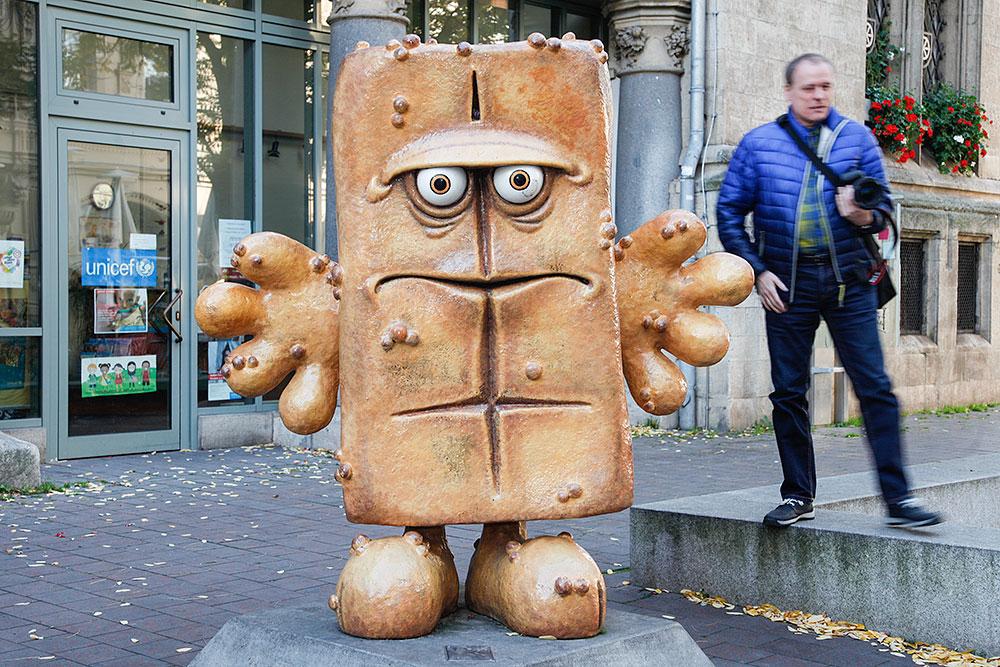 Bernd, das Brot in der Erfurter Fußgängerzone · © Andreas Lahn