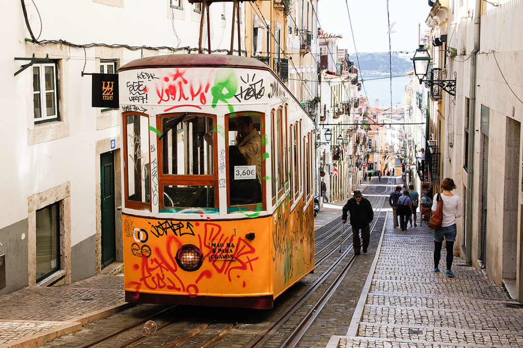Foo vom Aufzug Elevador da Bica in Lissabon