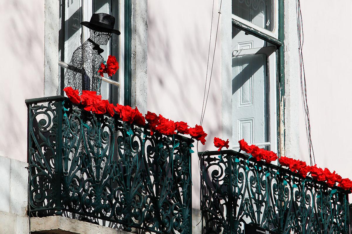 Foto von Nelken an Lissaboner Balkonen
