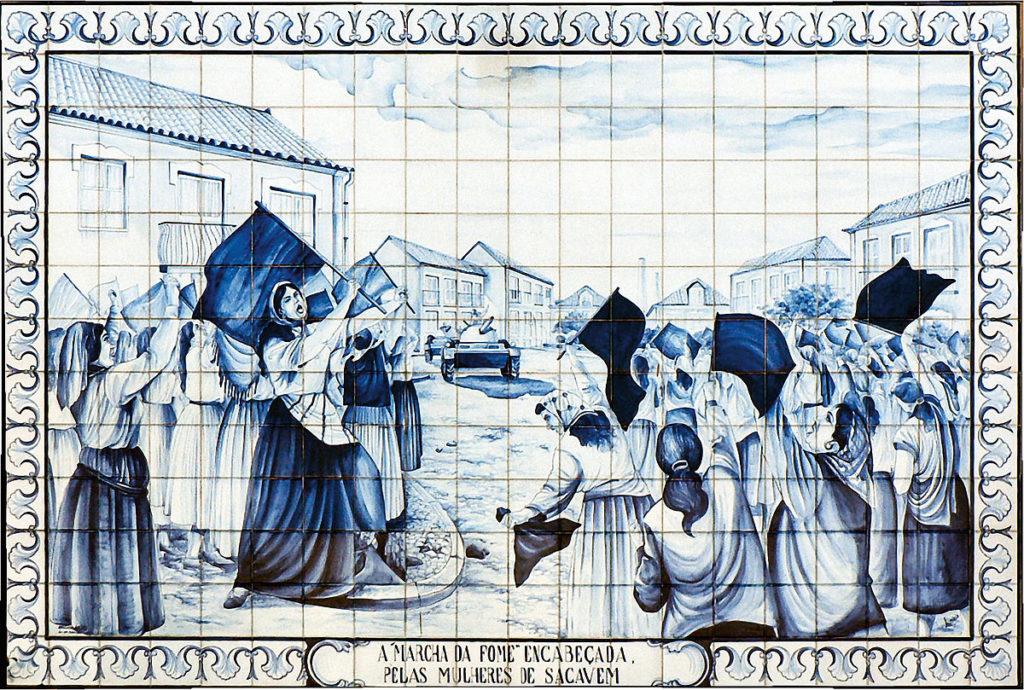 Foto eines Wandbildes vom Marcha da Fome der Frauen aus Sacavem