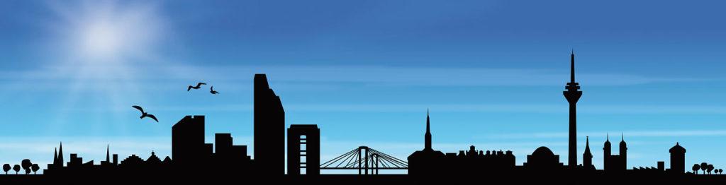 Grafik der Silhouette von Düsseldorf