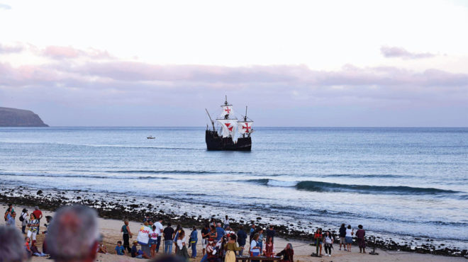 Foto der Ankunft der Santa Maria mit Kolumbus auf Porto Santo