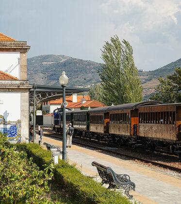 Foto vom Bahnhof in Pinhão am Douro