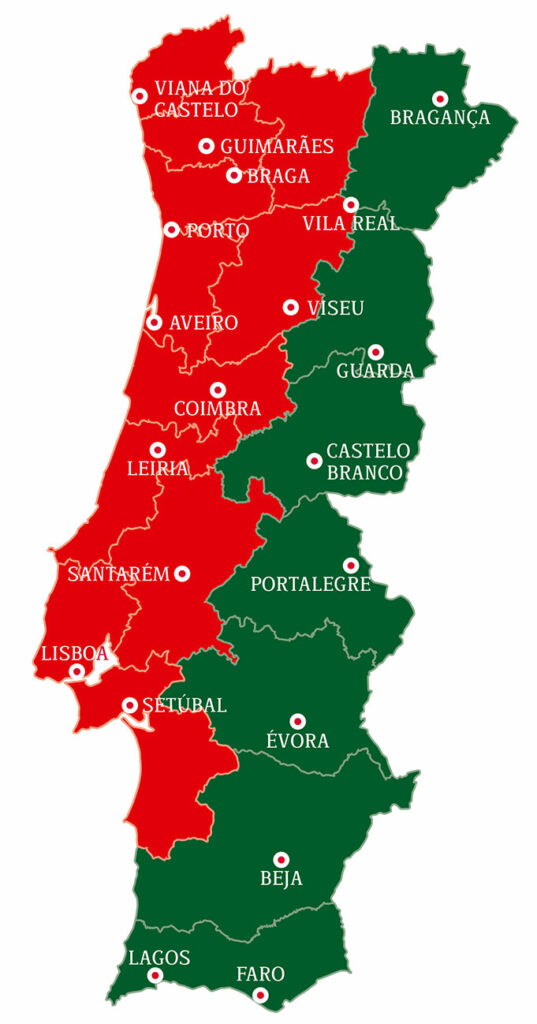 Landkarte von Portugal (Grafik)