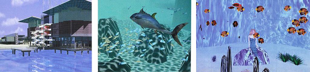 Außenansicht vom Oceanário de Lisboa, virtueller Fischschwarm und Nixe zur Expo 1998
